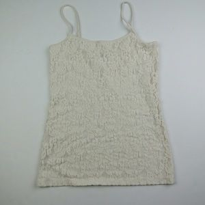 Ann Taylor Factory Cream Lace Front Cami Tank, S
